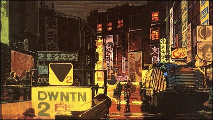 Concept art from the film Blade Runner by Syd Mead.