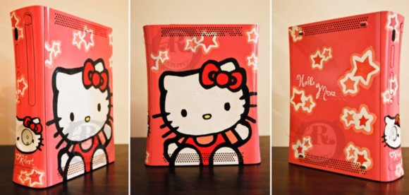 too starry and too darn adorable custom Hello Kitty Xbox