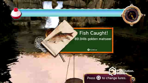 playstation home catches a fishing game