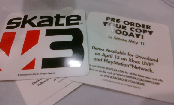 skate 3 demo sticker pax east 2010