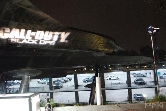 the Call of Duty: Black Ops logo projected on a real SR-71 Blackbird spy