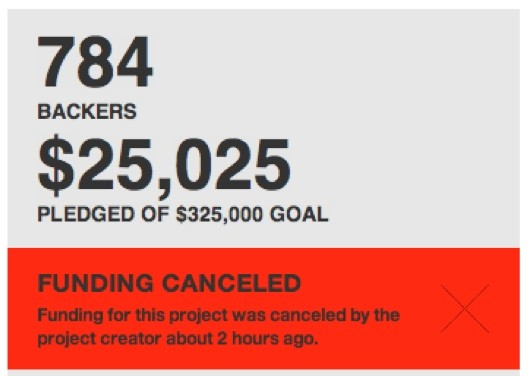 Kickstarter amount cancelled