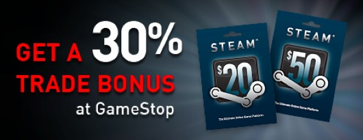 30% more tradein credit at GameStop for Steam gift cards during Steam's Summer Sale