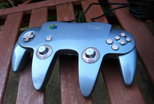 Dualanalog N64 controller hacked together for Star Wars Episode I Racer, GoldenEye