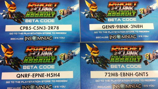 Take this code and go play the Ratchet & Clank Full Frontal Assault beta