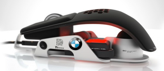 BMW and Thermaltake made this weirdlookin' gaming mouse, look at this thing