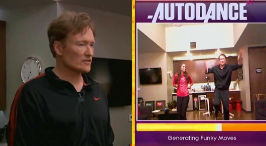 Conan O'Brien reviews Just Dance 4 with soccer gold medalist