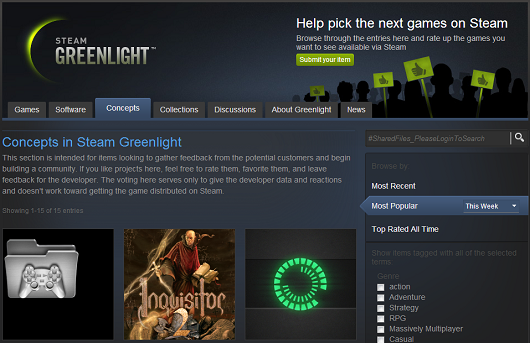 Get a game on Steam Greenlight without paying $100 in 'Concepts' tab