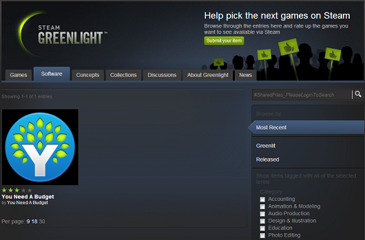 Nongaming software category added to Steam Greenlight