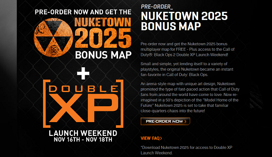Call of Duty Black Ops 2 Nuketown map and Double XP launch weekend