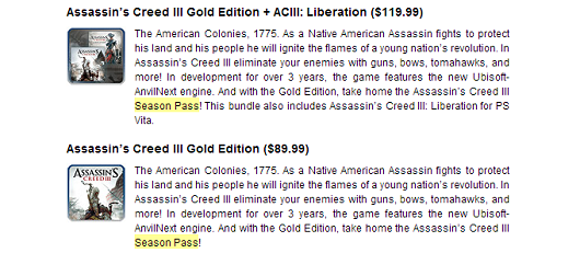 Assassin's Creed 3 season pass confirmed, sold in Gold Edition