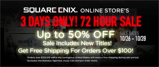 Square Enix 72 hour sale in online store