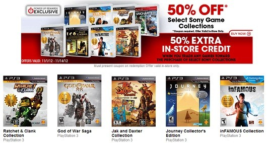 Gamestop 50% Off Sony Collections Deal is Official
