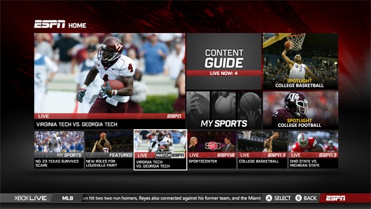 ESPN on Xbox Live now shows all live ESPN content