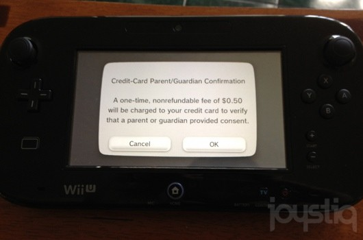 Nintendo ID requires credit card verification for minors