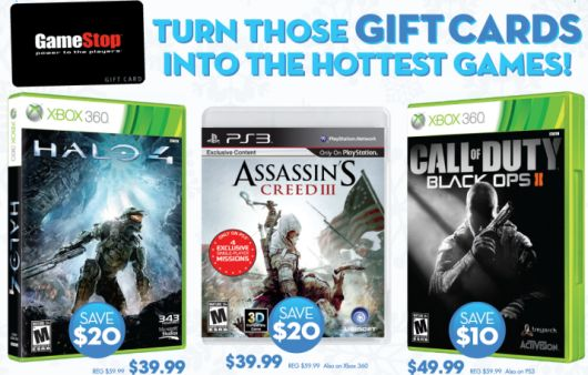 Gamestop offering Halo 4 and AC3 for $40, 50% credit on instore tradeins
