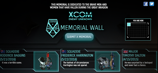 XCOM Memorial Wall on Facebook ensures they're gone, not forgotten