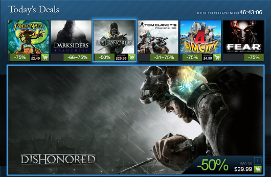 Steam Holiday Sale continue with Dishonored, Future Soldier, Darksiders franchise and more