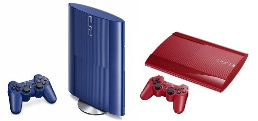 PS3 250GB Slim illuminating Japan in Garnet Red, Azurite Blue