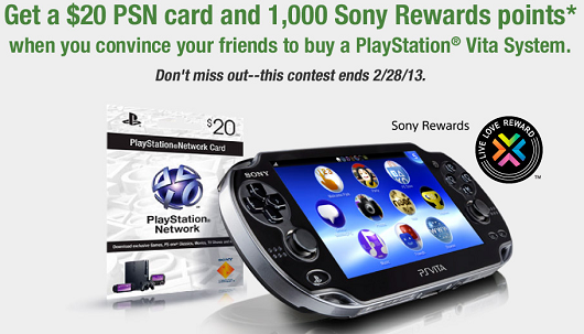 Get $20 in PSN credit, 1,000 Sony Rewards points for convincing someone to buy a Vita
