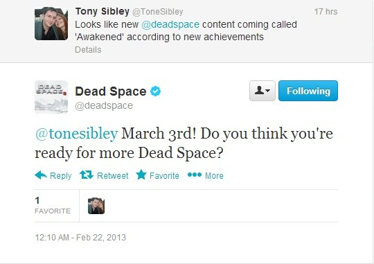 Rumor Dead Space 3 Awakened DLC rouses March 3