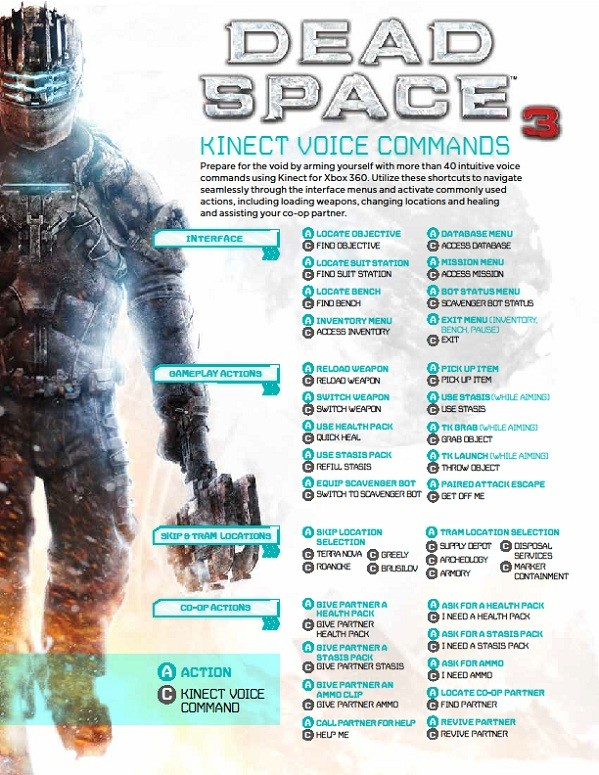 Dead Space 3 Kinect voice commands