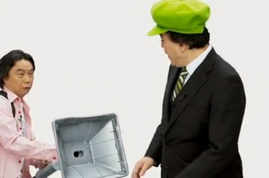 Miyamoto cleans up in this Luigi's Mansion Dark Moon skit