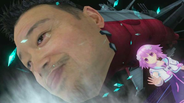 Inafune's face is in space in Hyperdimension Neptunia Victory
