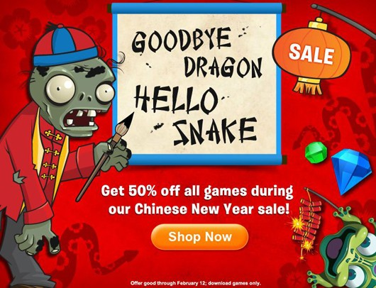 All PopCap games halfoff this weekend