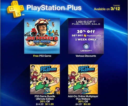 PS Plus offers up a Ubisoft sale, cheap Scott Pilgrim, free Joe Danger