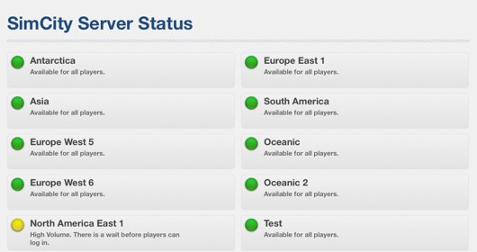 SimCity receives official server status page