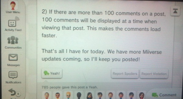 Miiverse updates include community categories, 100 comment displayed