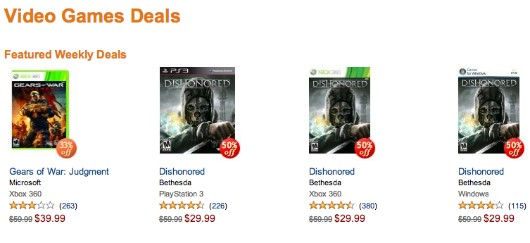 Dishonored is so 50 percent off on Amazon, you guys