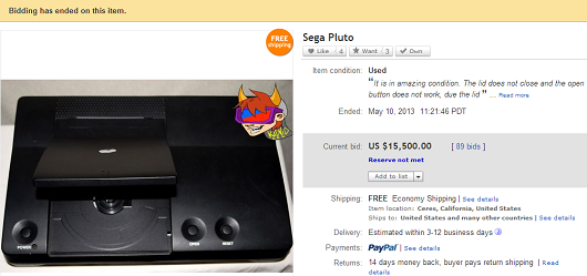 $15,500 not enough for Sega Pluto prototype