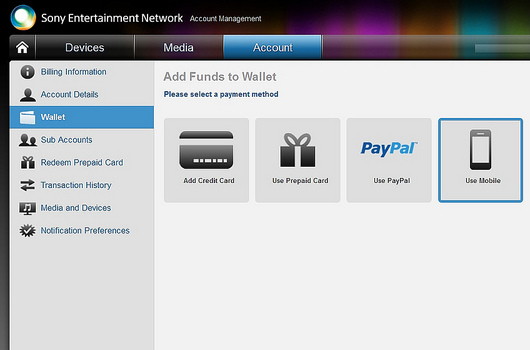 Sony adds mobile billing option to PlayStation Store, SEN