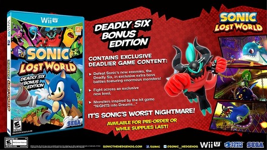 Sonic Lost World Deadly Six bonus edition is a thing WITH NIGHTS