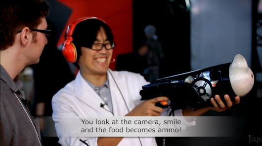 Eat real food to reload in Food Practice Shooter, TGS 2013's mostnutritional lightgun game