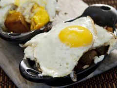 Honey Roasted Potatoes with Fried Eggs and Bacon