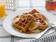 Homemade Waffles with Honeycomb Butter and Bananas