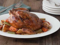 Whole Roasted Chicken with Tomato Basil Butter