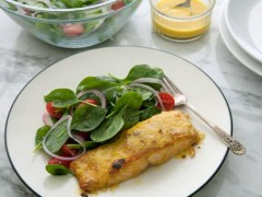 Mango-Glazed Salmon with Baby Spinach and Cherry Tomato Salad