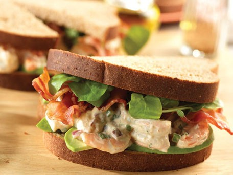 Shrimp Salad Sandwiches with Avocado, Bacon &amp; Watercress