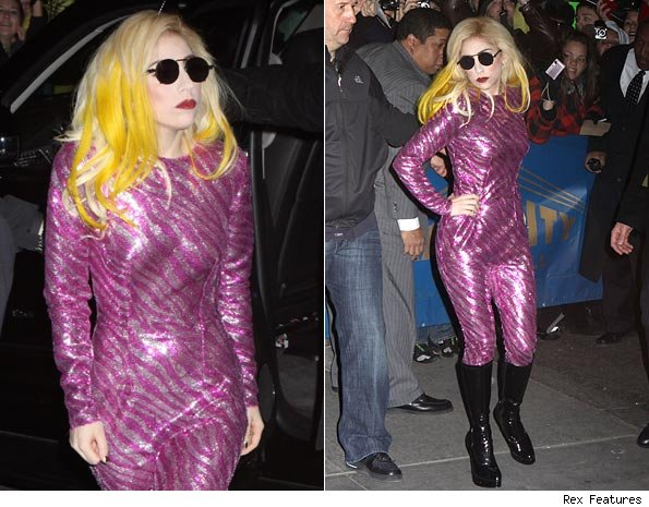 patent black boots and circular sunglasses - while yellow hair streaks
