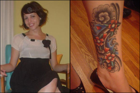 Nikko Hurtado Calf Tattoo. The tattoo: Flower and wave mural on inner left