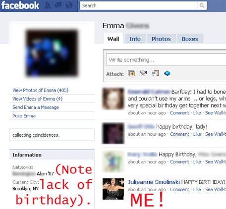 funny thing happened: Facebook told errrrrrrrybody it was her birthday.
