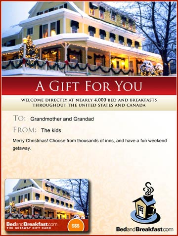 Bed and Breakfast Gift Card