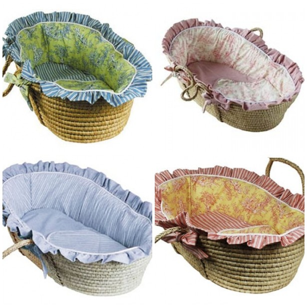 Moses Baskets with Toile Lining: $225 each