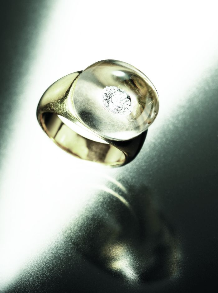 Diamonds in Glass Ring