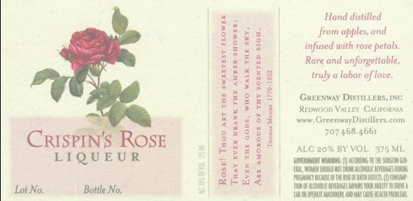 Crispin's Rose Liqueur