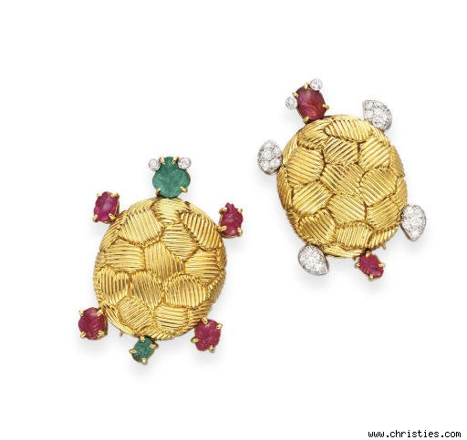 Pair of Multi-Gem and Gold Turtle Brooches by Van Cleef &amp; Arpels